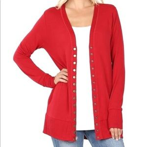 Long Sleeve Red Snap Button Cardigan Sweater